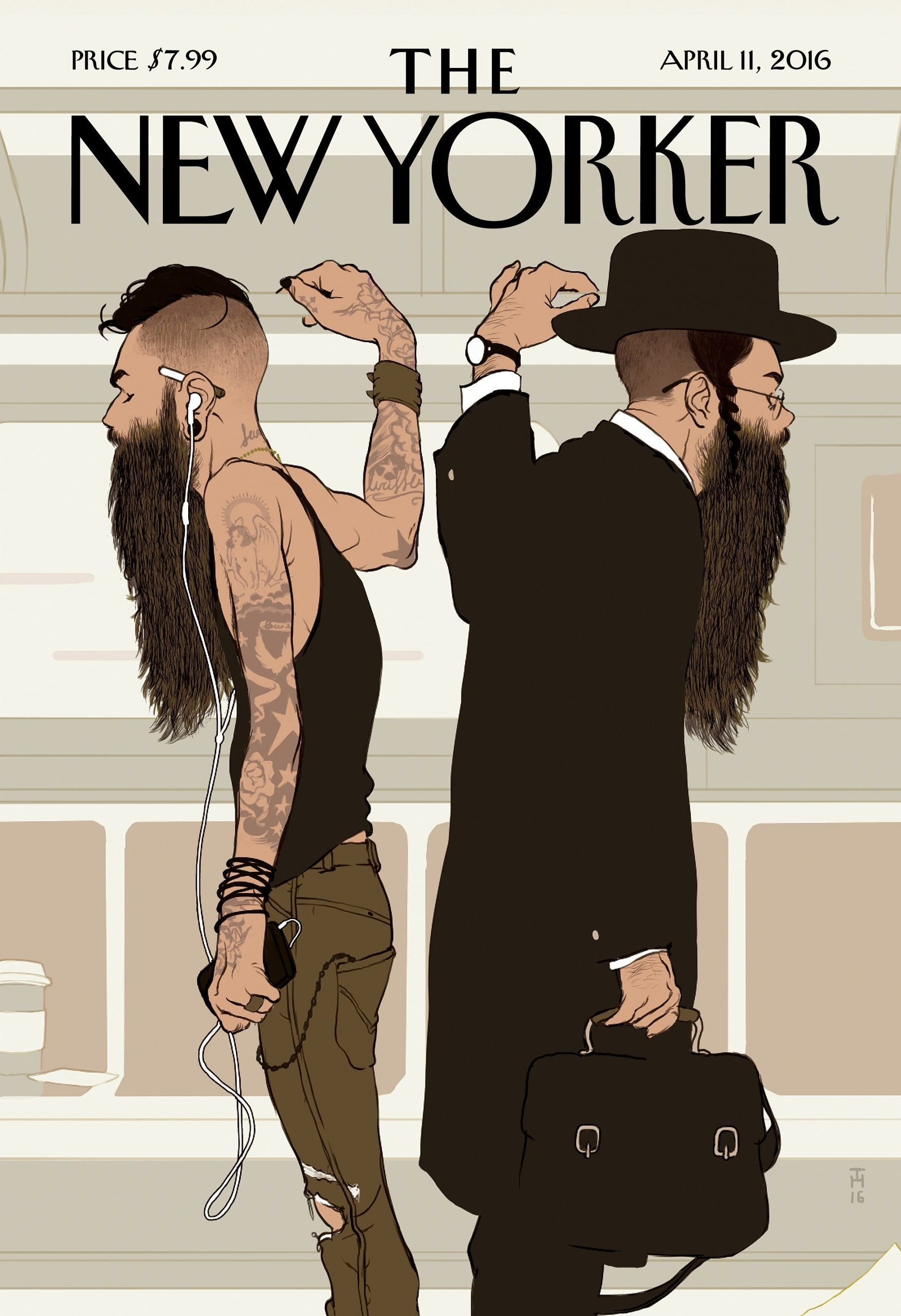 Take the L train: dos barbas, dos estilos. Tomer Hanuka para The New Yorker